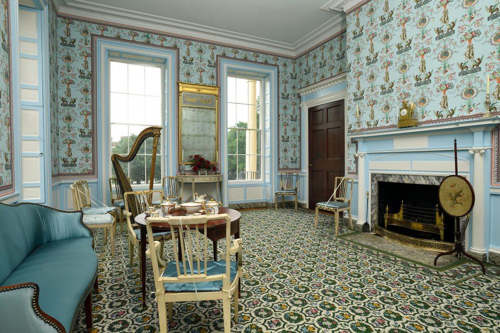 Heavily patterned salon