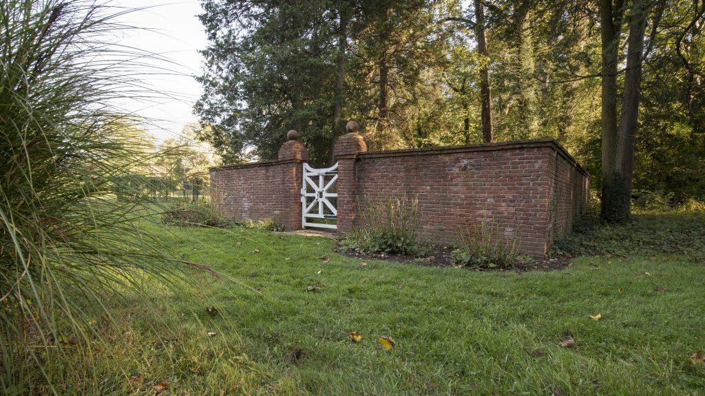 a structure in evergreen garden